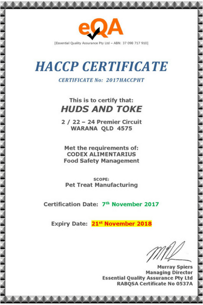 Huds and Toke Pet Treats Achieve World Class Food Safety
